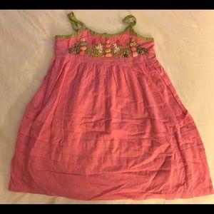 Mimi & Maggie pink green floral ribbon dress 3t